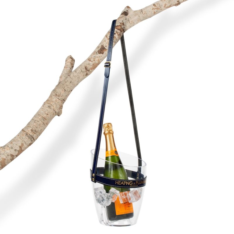 """""""Keep Your Cool"""" Champagne Bucket - Navy Blue Leather Strap image"""