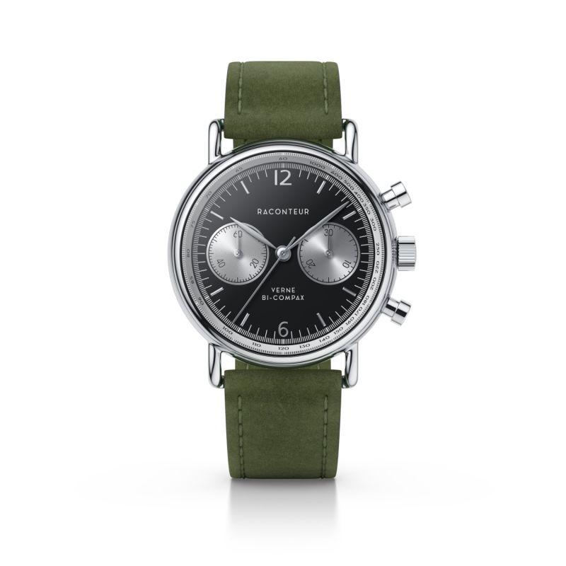 Verne Bi-Compax Silver Black - Emerald Suede image