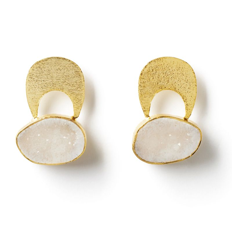 Quietly Confident White Agate Crystal Gold Earrings image