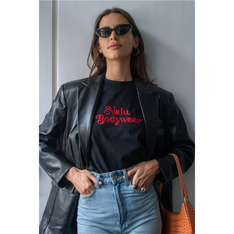 Vintage Bad Girl T-Shirt with Red Embroidery image