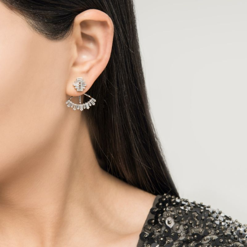 Silver Baguette Cut Cubic Zirconia Ear Jacket image