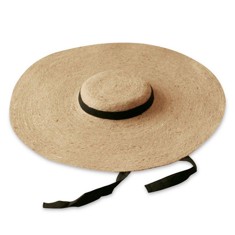 Lola Wide Brim Jute Hat, With Black Strap image