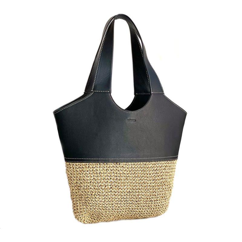 Handwoven Raffia & Leather Shoulder Bag Black image