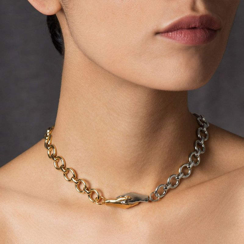 """Gentlewoman's Agreement 16"""" Choker Necklace In Two-Toned Duet image"""