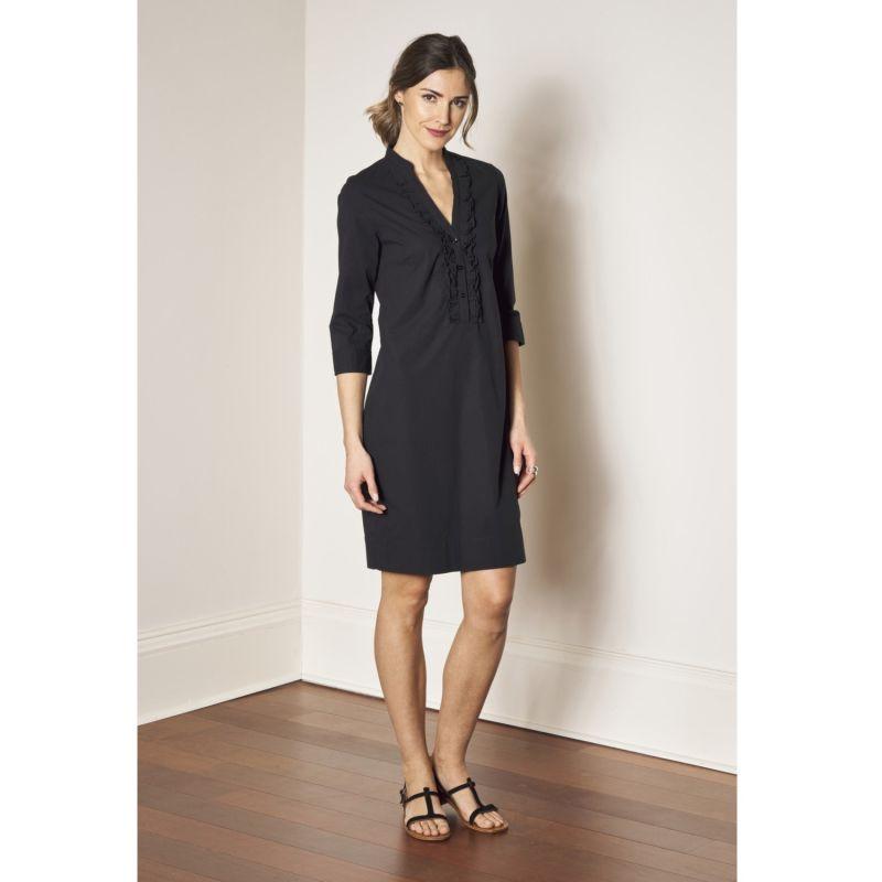 Shirtdress - Black Stretch Cotton Ruffle Collar Fitted Dress - Black image