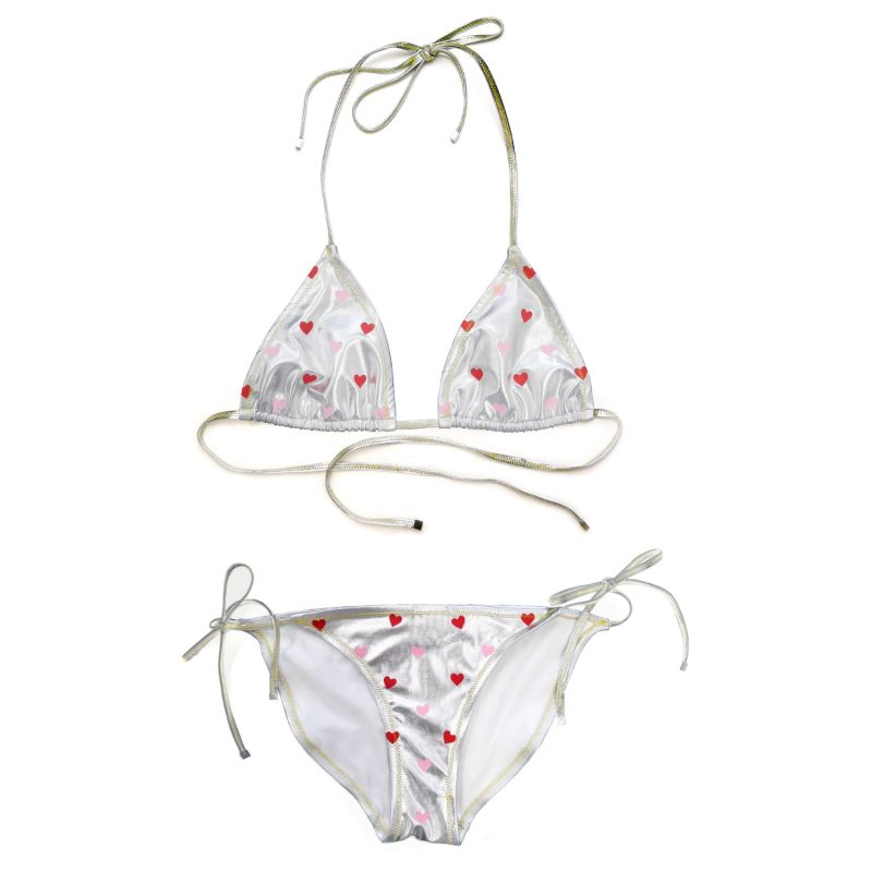 Red & Pink Hearts Silver Bikini Triangle Top Mix & Match image