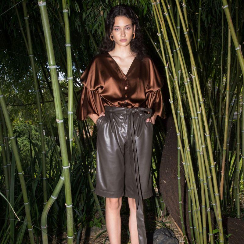 Belted Vegan Leather Shorts image