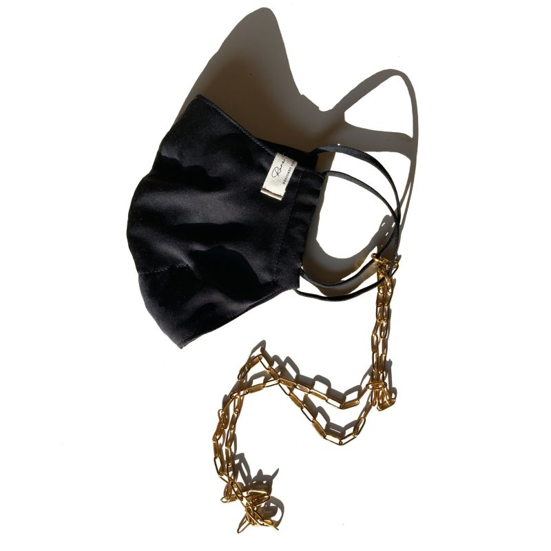Satin Face Mask With Gold Chains - Black image