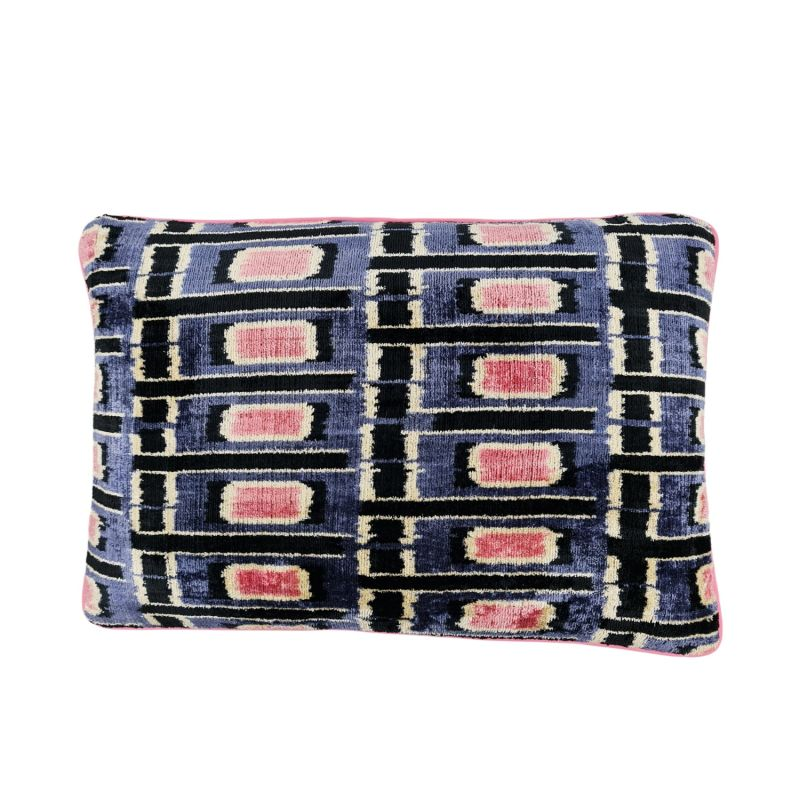 Sapphire & Pink Velvet Cushion 60 x 40cm image