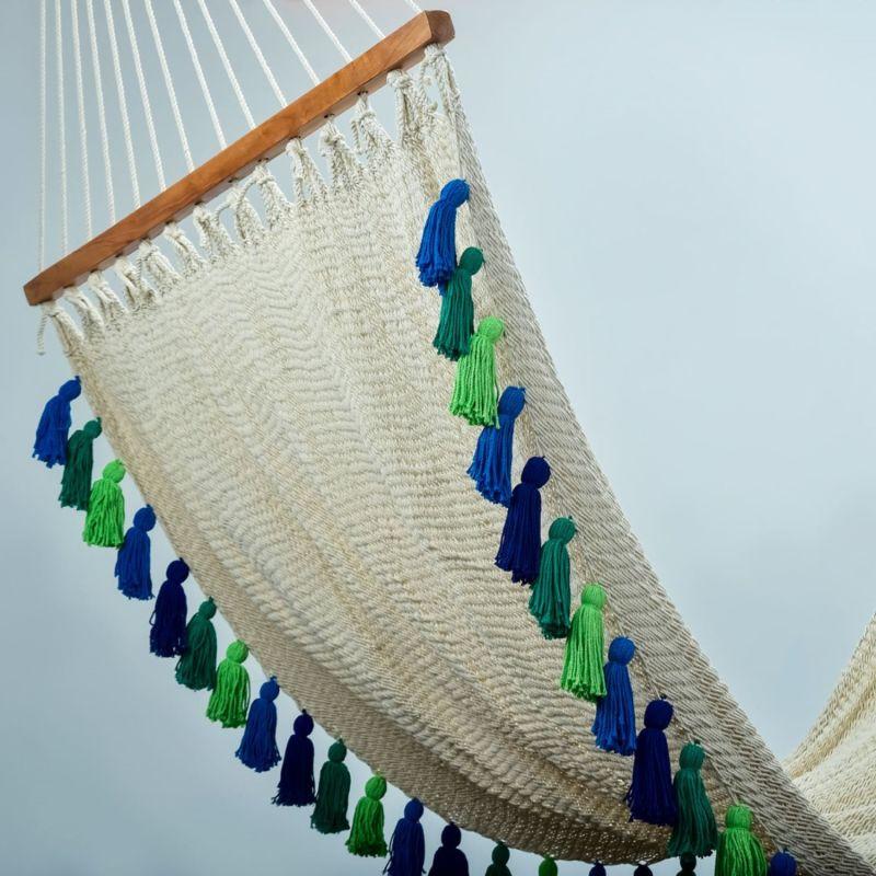 Deluxe Natural Cotton Hammock With Rainforest Inspired Tassels (Teak Wooden Bar) image