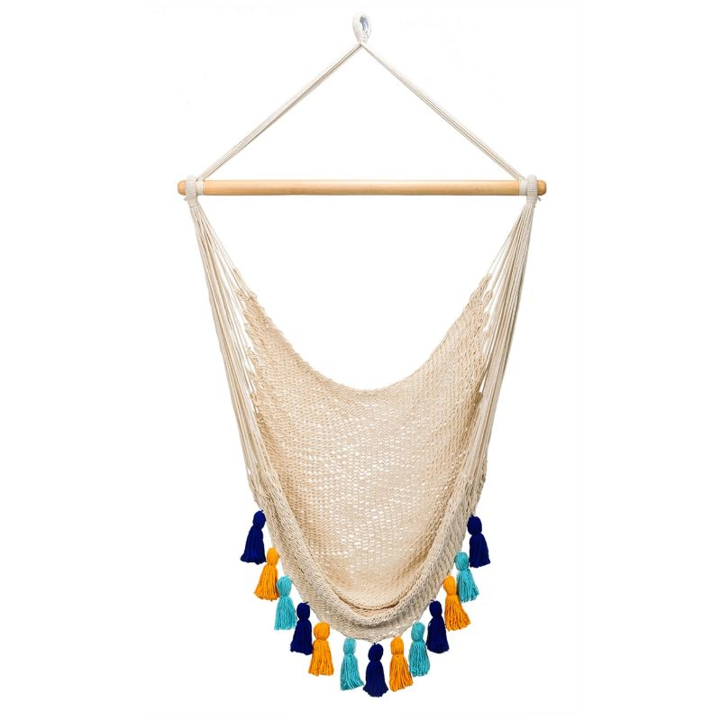 Deluxe Natural Cotton Hammock Swing With Hue Inspired Tassels image