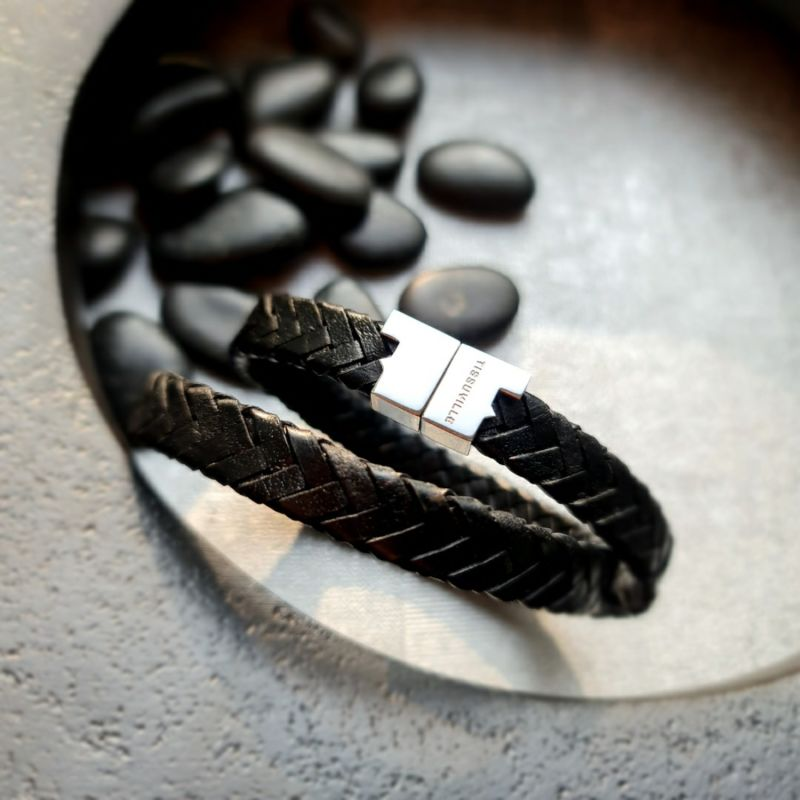 Black Leather Double Wrap Bracelet - Stark Silver image