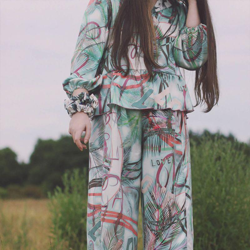 Tropical Palm Print Silk Trousers image