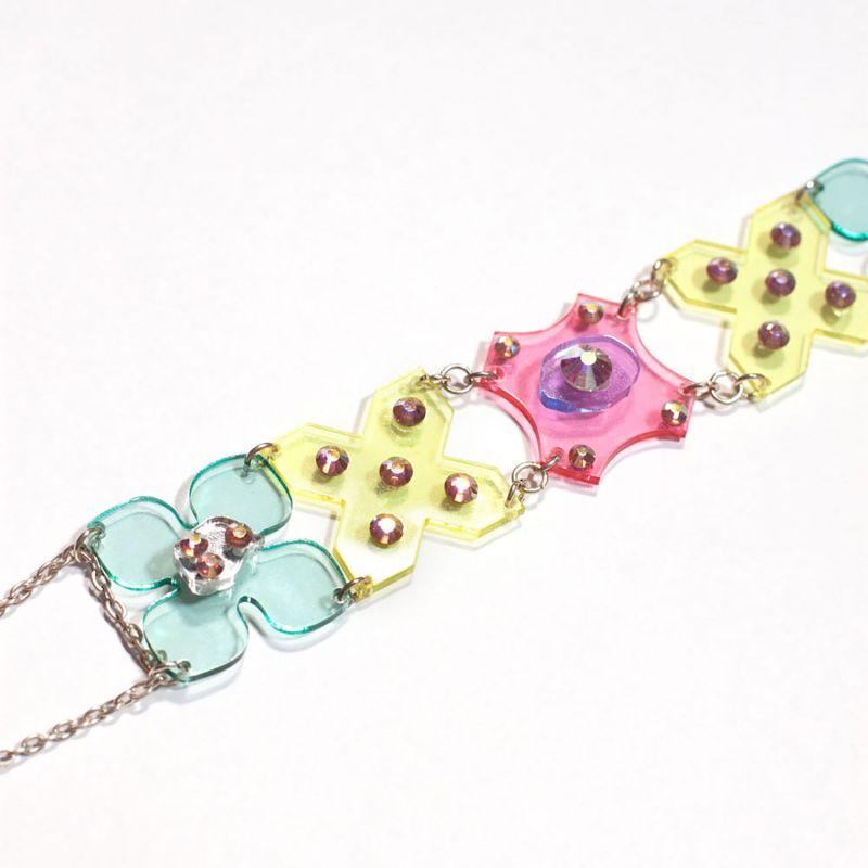 Multicolour Flower Power Acrylic Choker Necklace image