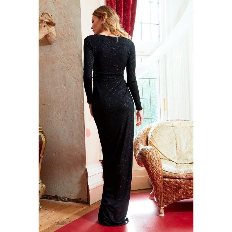 Clara Black Glittery Plunge Front Knot Floor-Length Dress image