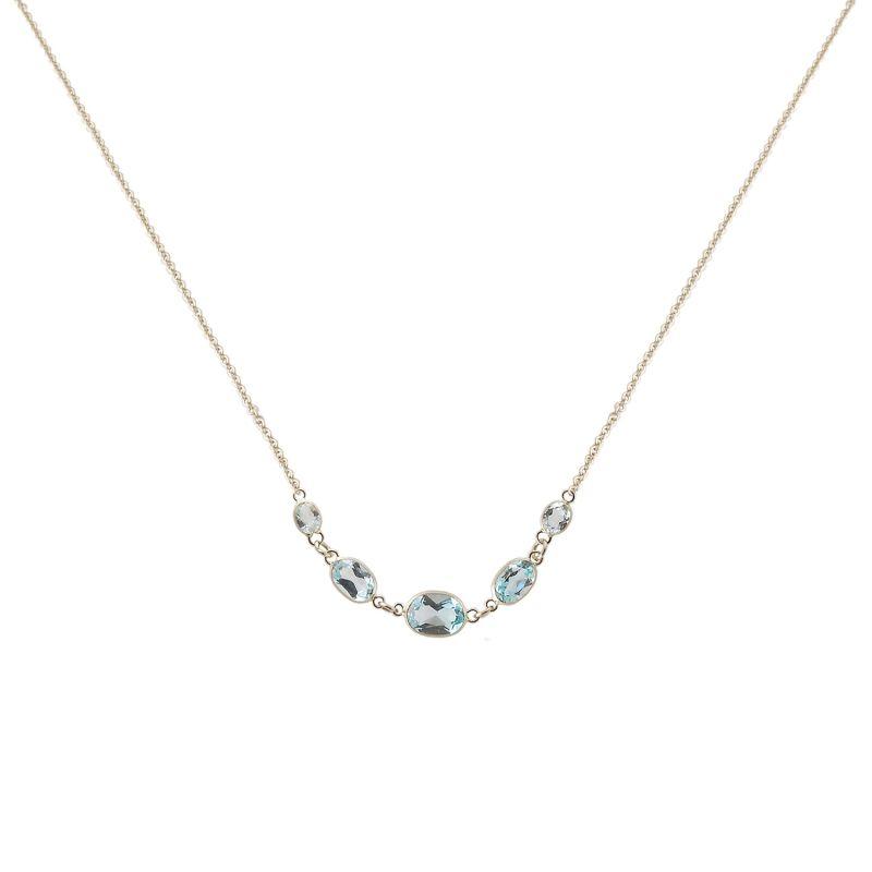 Five Stone Bezel Set Blue Topaz Necklace In 14K White Gold image