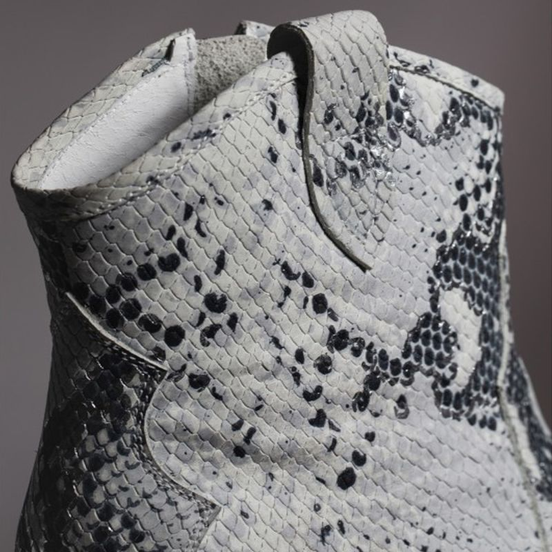 Leather Croc-Effect Ankle Boots image