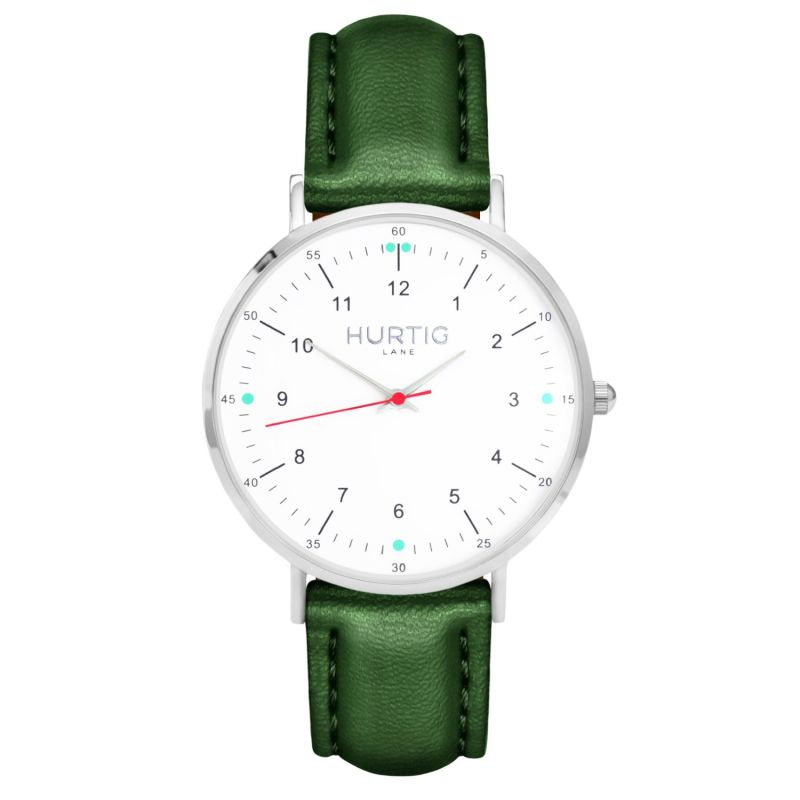 Moderno Vegan Leather Watch Silver,White & Green image