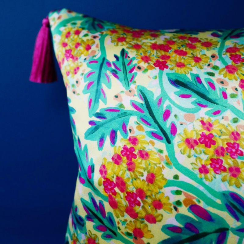 Yellow Coastal Flower Silk Cushion image