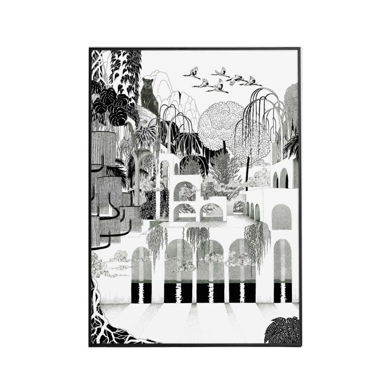 Where The Cats Dream Monochromatic - Signed Art Print A2 image