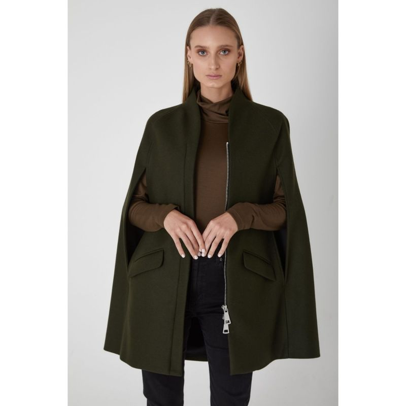 Chelsea Wool Cashmere Cape - Dark Khaki image