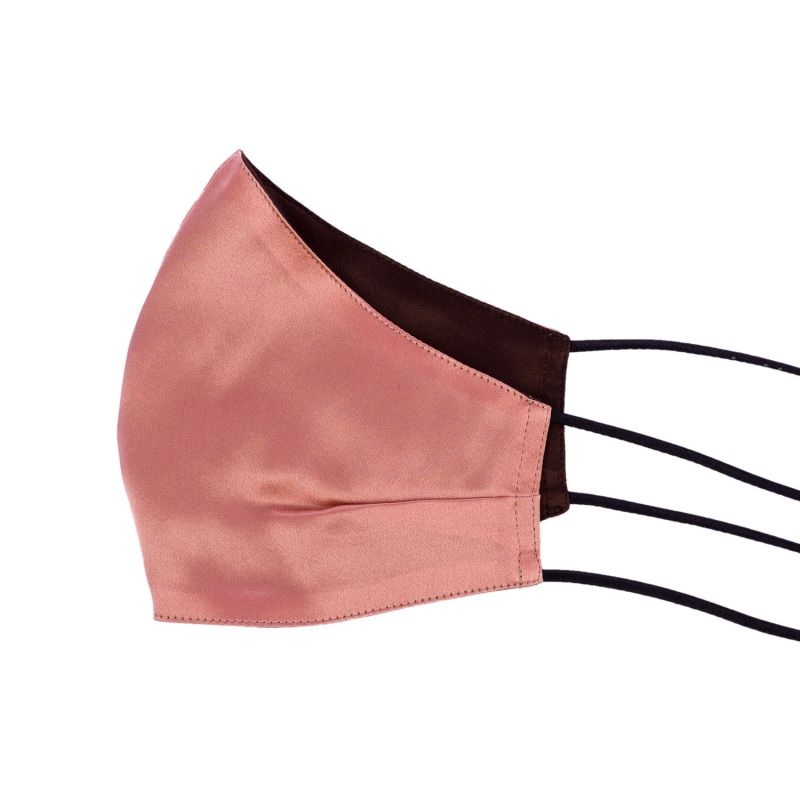 Two-Sided Brown & Dusk Pink Silk Face Mask image