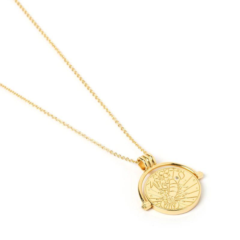 Scorpio Zodiac Gold Spinner Necklace image
