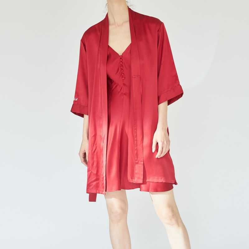 A Midsummer Afternoon Silk Robe - Red image