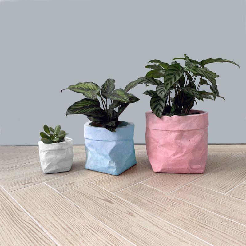 Colour Concrete Paper Bag Small White image
