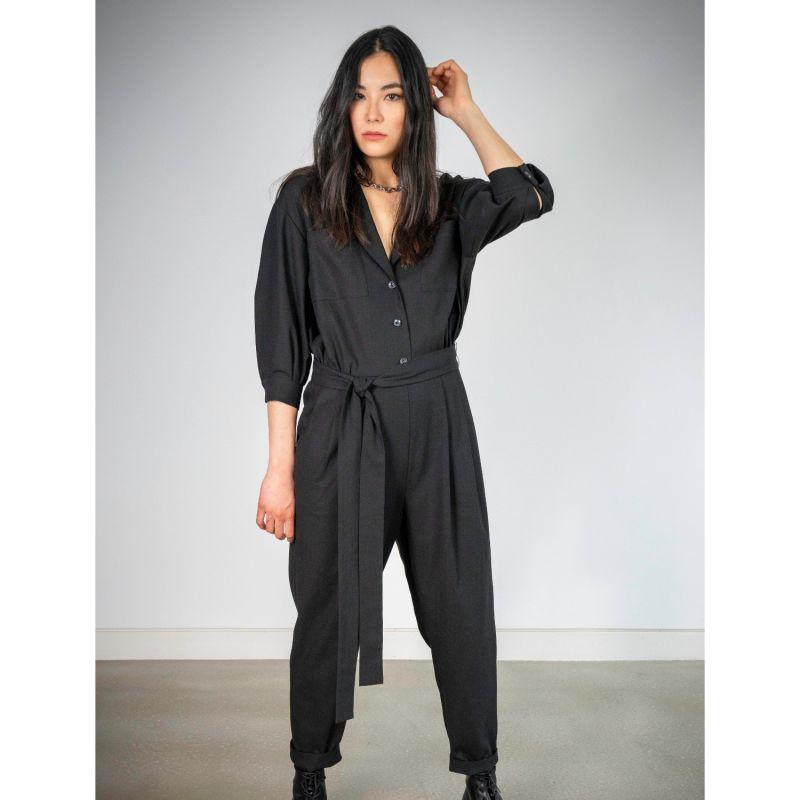 Adah Black Linen Jumpsuit image