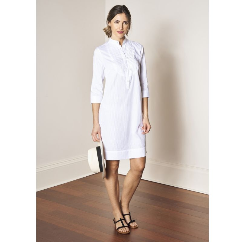 Cleverly tailored white cotton shirtdress with tuxedo pleated bib - Kate image