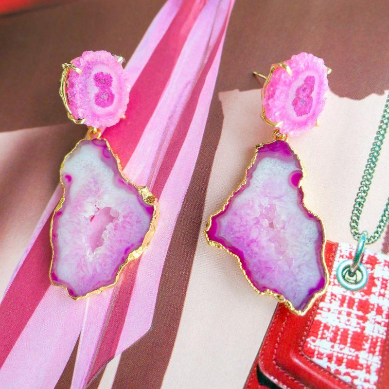 Pastel 'Summer Love' Gemstone Gold Statement Earrings image