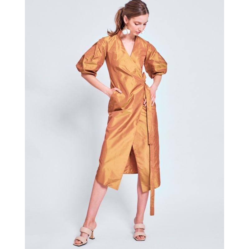 Faith Silk Wrap Dress With Puffy Sleeves image