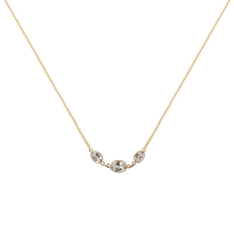 Three Stone Bezel Set White Topaz Necklace In 14 Karat Yellow Gold image