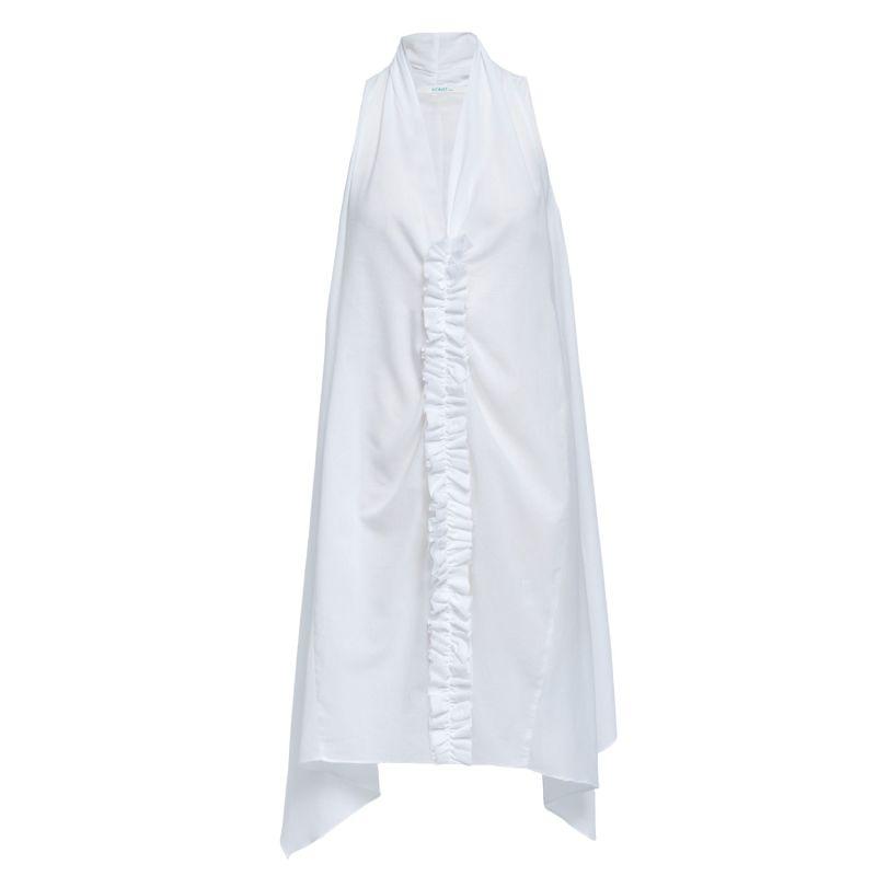 Ruffled Organic Cotton Dress In White image