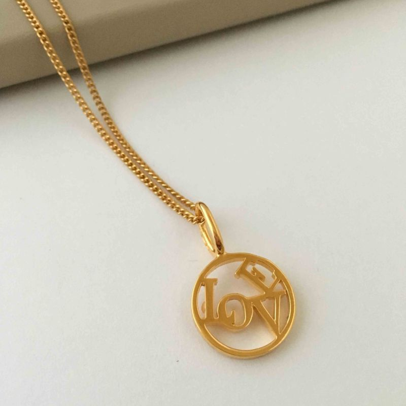 Love Medallion & Chain In Yellow Gold Plate image