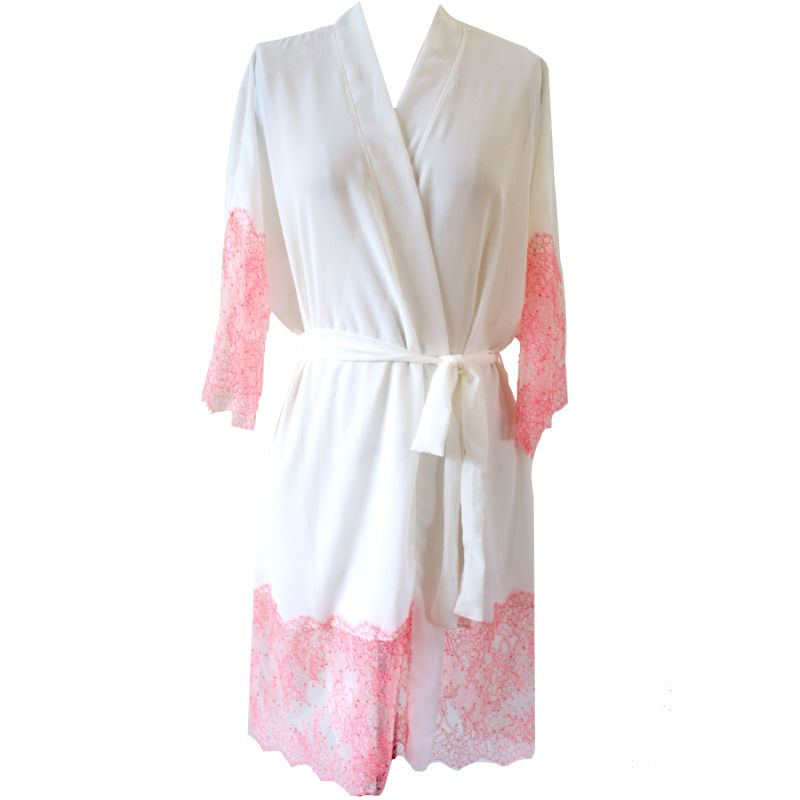 Orchid Georgette & Chantilly Lace Trim Short Robe image