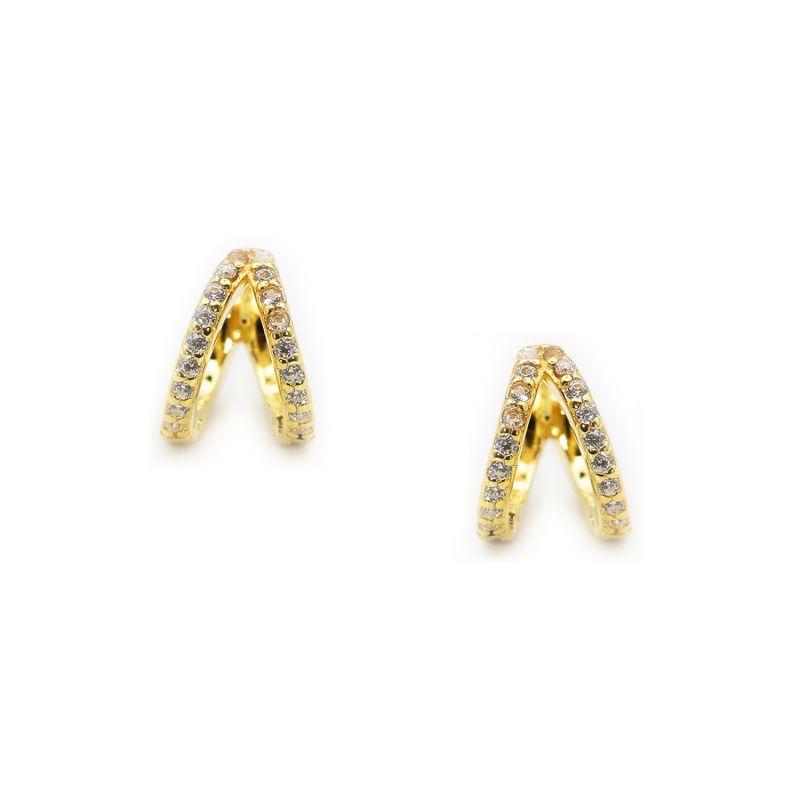 Pave Split Huggies In 18k Gold image