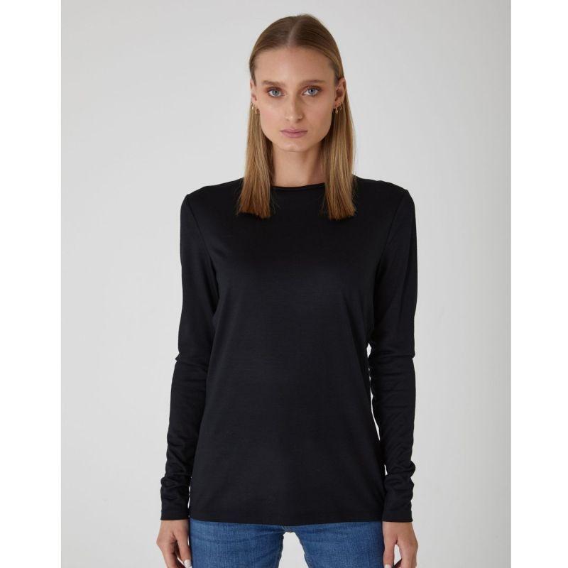 Luxury Superfine Merino Wool Crew In Black image