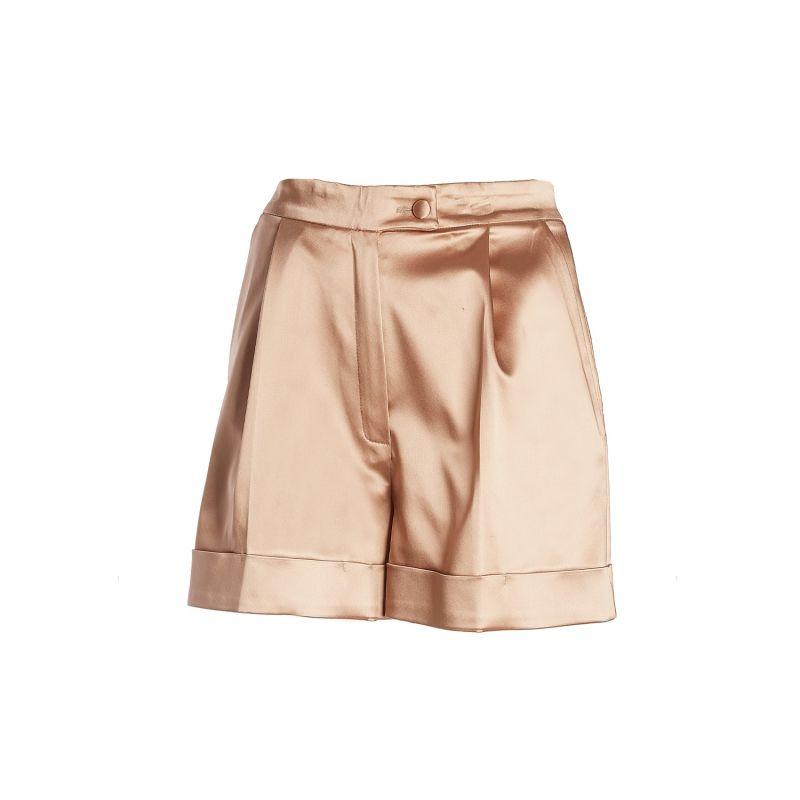 High-Waist Satin Tailored Shorts (Neutrals) image