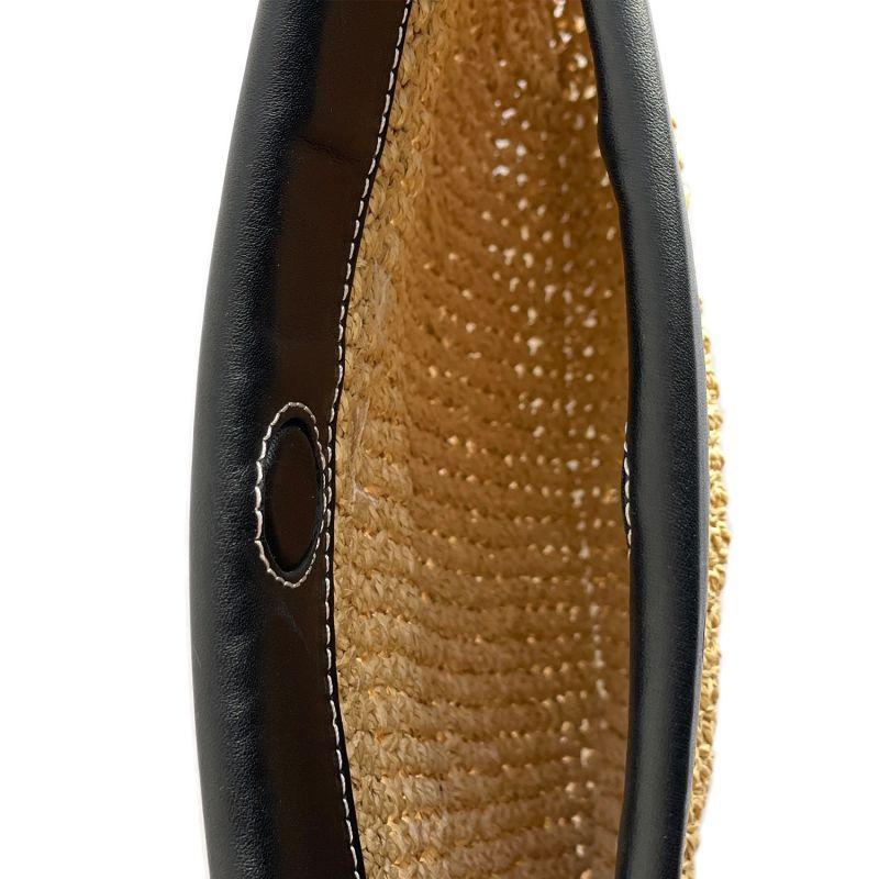 Handwoven Raffia & Leather Clutch Black image