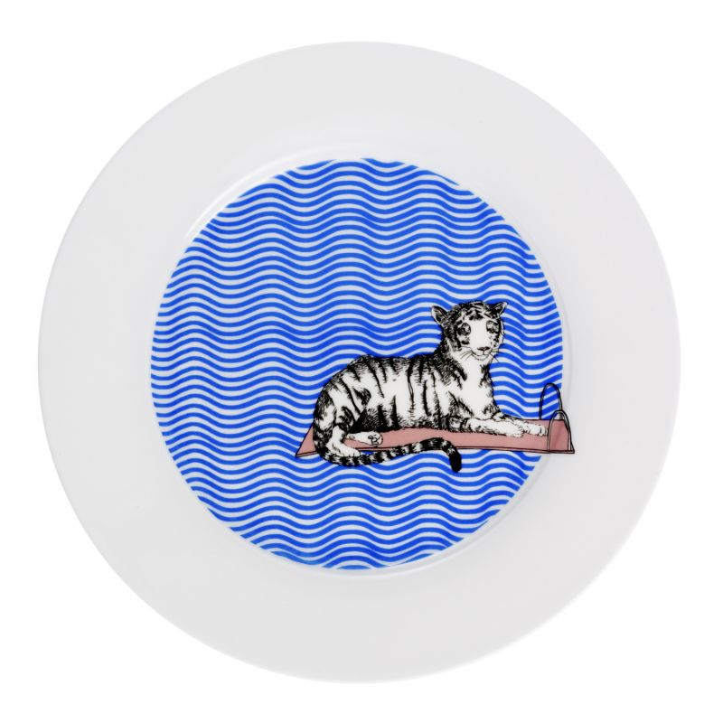 Tiger Swims Dinner Plate image
