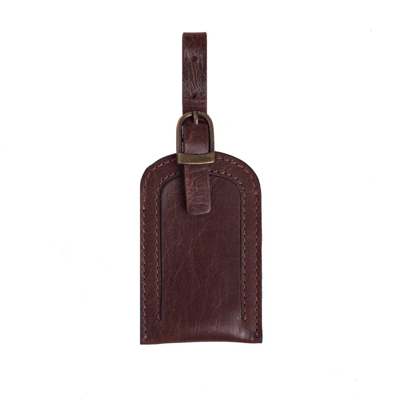 Classic Dark Brown Leather Luggage Tag image