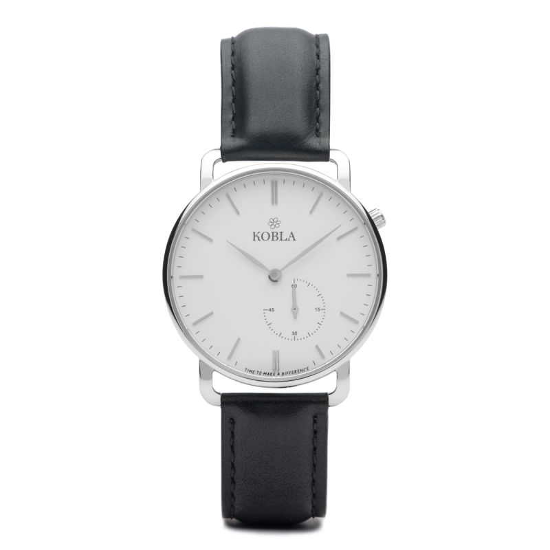 Silver Case / White Dial / Black Leather image