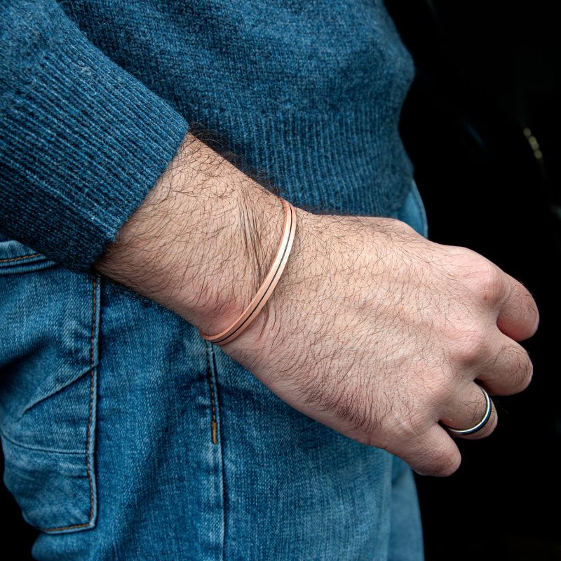 Minimal Solid Copper Bracelet For Men. Great Healer image