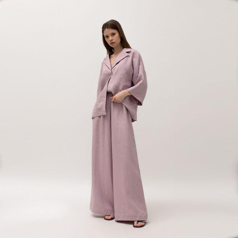 Linen Blend Pyjama-Style Shirt In Lavender Colour image