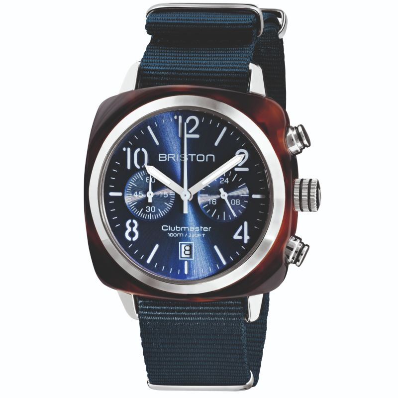 Briston Clubmaster Classic Chronograph Tortoise Shell Acetate, Midnight Blue Dial image