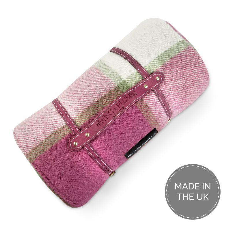 Pure New Wool Waterproof Picnic Blanket Pink Checks image
