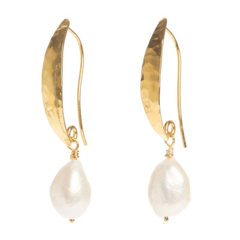 Hammered Gold Baroque Pearl Earrings image