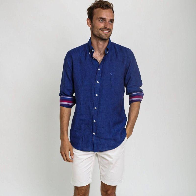 Navy Linen Kamba Shirt image